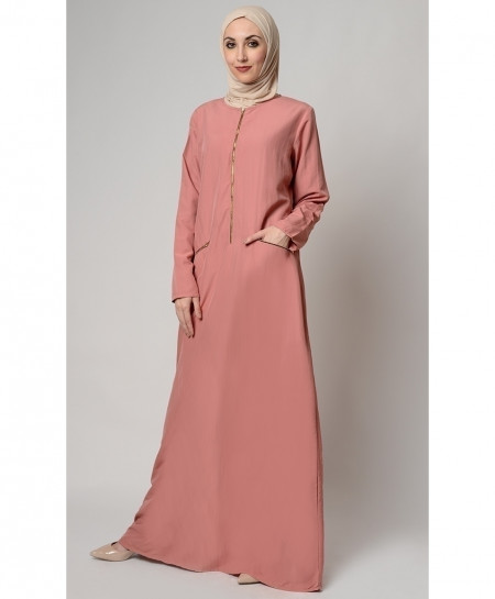Peach Pink Zipper Pocket Style Ladies Abaya FLK-403