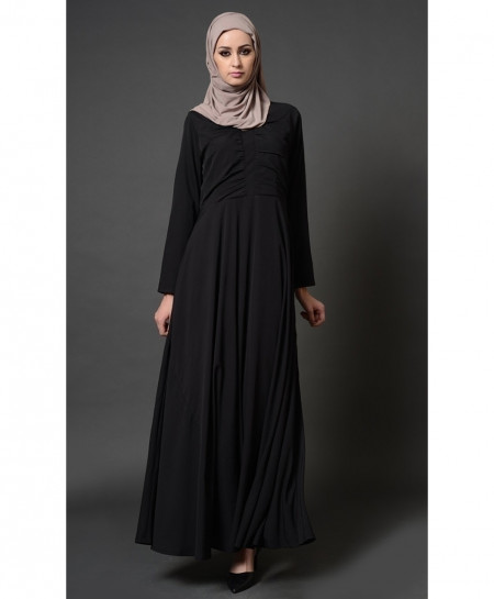 Black Front Pleated Style Ladies Abaya FLK-401