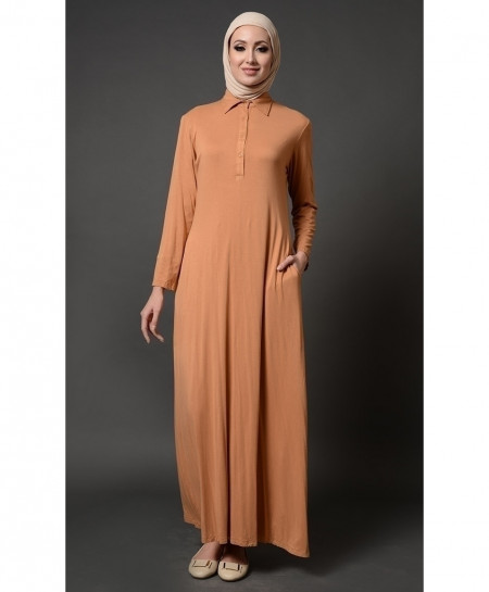 D Almond Collar Button Style Ladies Abaya FLK-399