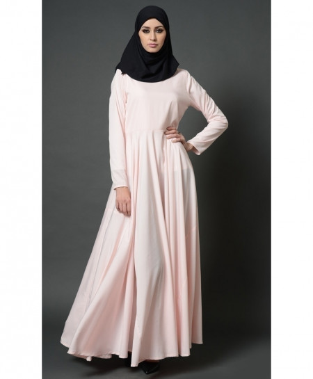 Baby Pink Frock Pleated Style Ladies Abaya FLK-397