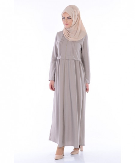 Ash Grey Pleated Zipper Style Ladies Abaya FLK-396