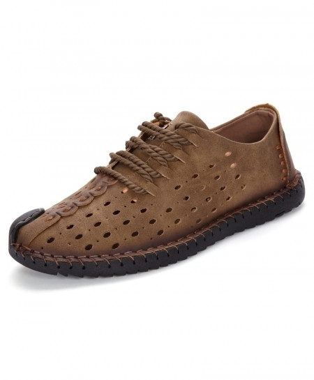 Brown Genuine Leather Lace Up Shoes