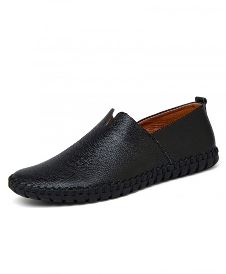 CcharmiX Black Handmade Cow Leather Loafer
