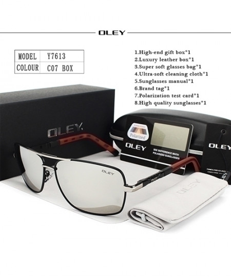 OLEY Red Black Polarized Silver Shades Sunglasses