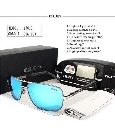 OLEY Silver Polarized Blue Shades Sunglasses
