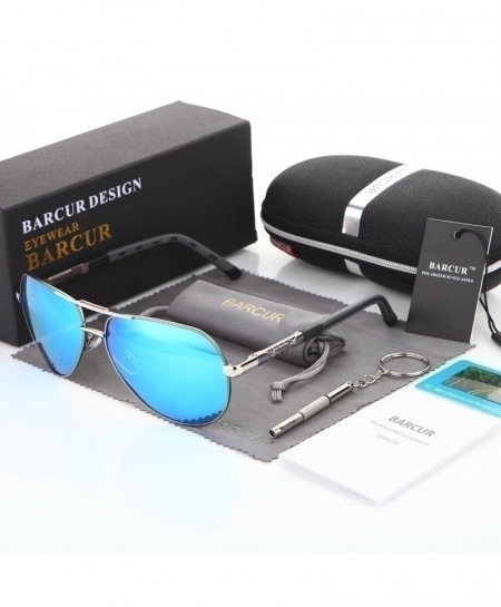 BARCUR Blue Shade Aluminum Magnesium Polarized Sunglasses