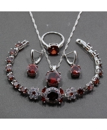 925 Sterling Silver Red Garnet Jewelry Sets