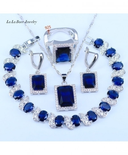 LB Cubic Zirconia Square Blue Stone 925 Silver Color Jewelry Set