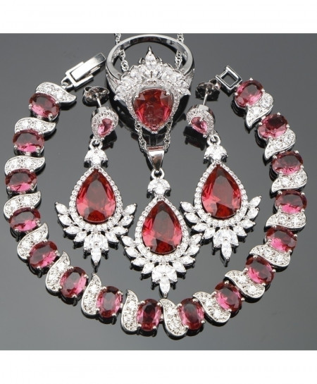 Red CZ Costume Women Silver 925 Jewelry Set