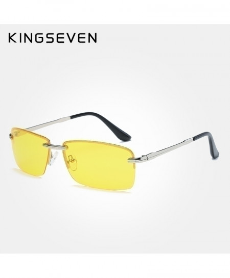 KINGSEVEN Yellow Shades Rectangle Polarized Rimless Sunglasses