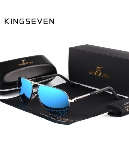 KINGSEVEN Gold Black Aluminum HD Polarized Sky Blue Shades Sunglasses