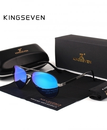 KINGSEVEN Black Polarized Pilot Mirror Sky Blue Lens Sunglasses