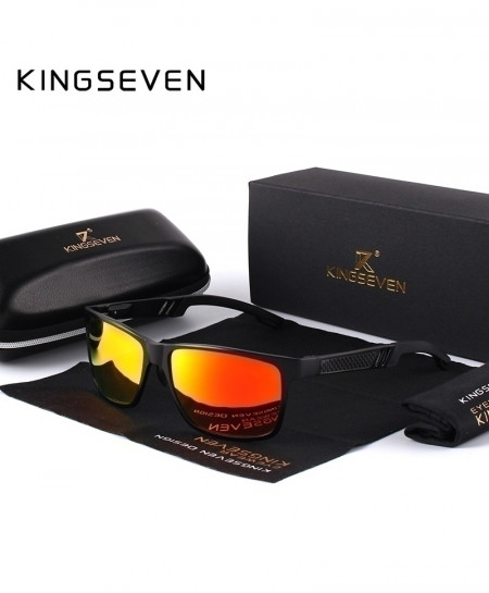 KINGSEVEN Gray Polarized Aluminum Magnesium Rectangle Orange Shades Sunglassesa