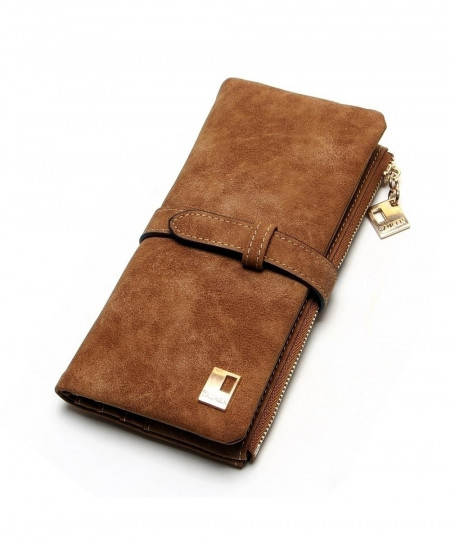 TAUREN Brown Drawstring Nubuck Leather Zipper Long Wallet