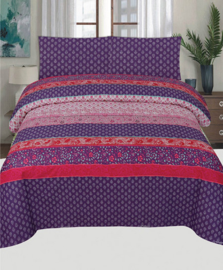 Purple Pink Floral Cotton Bedsheet PBS-990