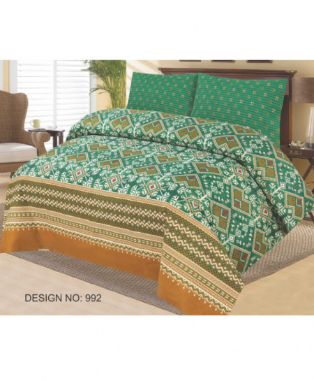 Green Brown Floral Cotton Bedsheet PBS-992