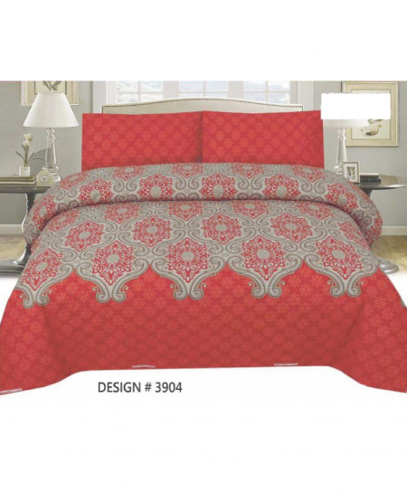 Red Brown Floral Cotton Bedsheet PBS-3904