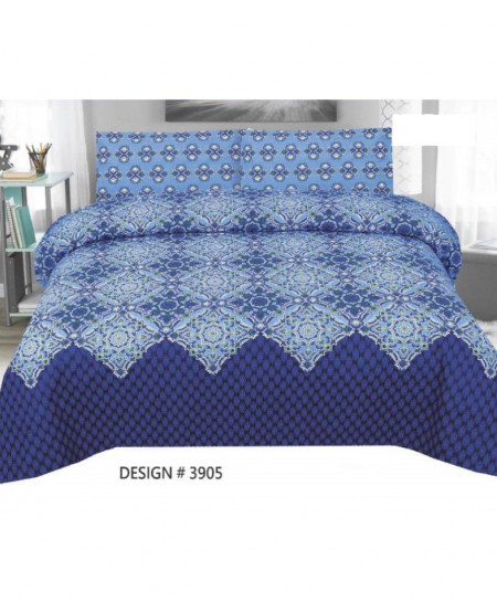 Royal Blue Floral Cotton Bedsheet PBS-3905