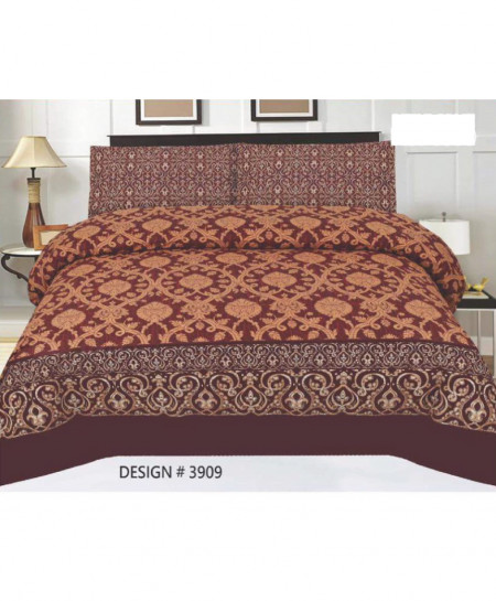 Dark Brown Floral Cotton Bedsheet PBS-3909