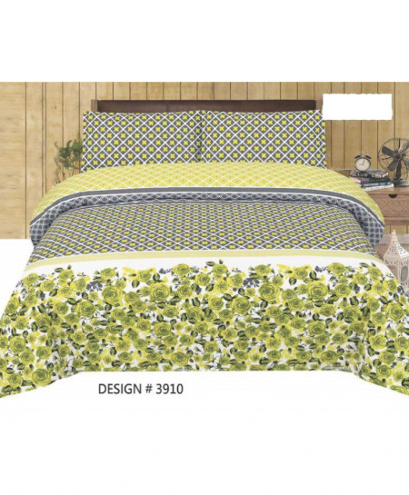 Green Gray Floral Cotton Bedsheet PBS-3910