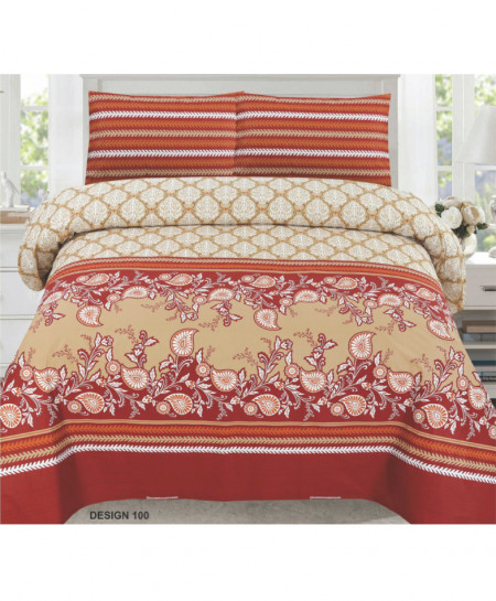 Red Beige Floral Cotton Bedsheet PBS-N-100