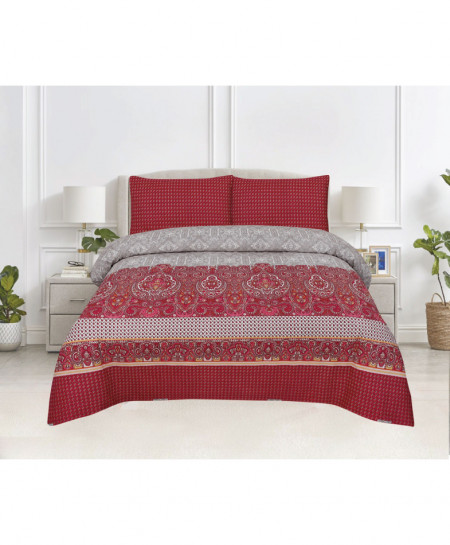 Maroon Floral Cotton Bedsheet PBS-DB-03