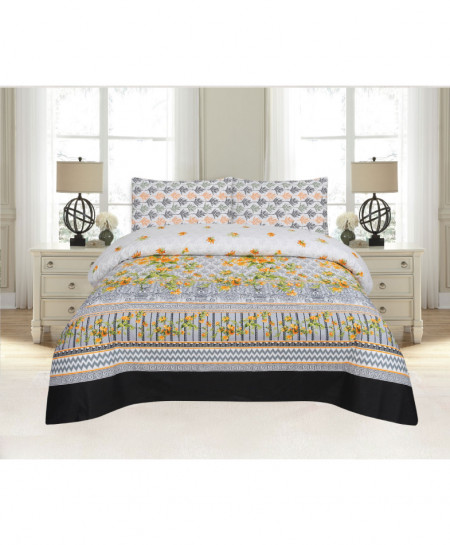 Gray MultiColor Floral Cotton Bedsheet PBS-DB-20