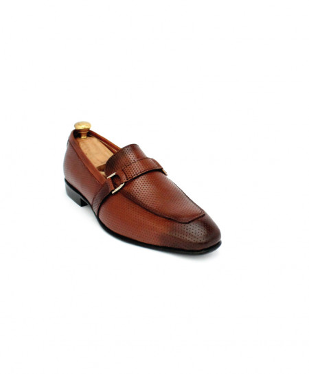 Corio Brown Leather Tie Up Dotted Loafer CSO-JC-196