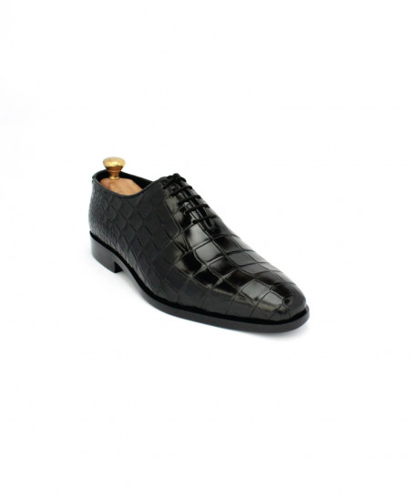 Corio Black Oxford Crocodile Leather Shoes CSO-JC-197