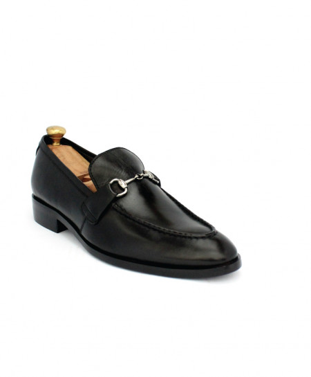 Corio Black Buckle Up Leather Loafer CSO-JC-205