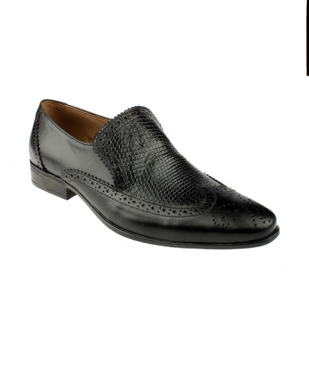 Black Leather Crocodile Texture Brogue Shoes LC-328