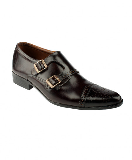 Choco Brown Leather Double Monk Formal Shoes LC-332