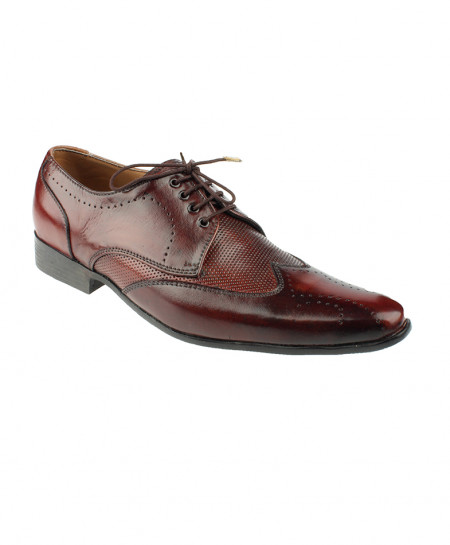 Burgundy Leather Lace Up Formal Shoes LC-334