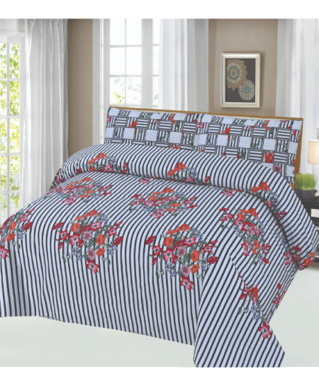 Bluish Gray Floral Cotton Bedsheet PBS-CO-109