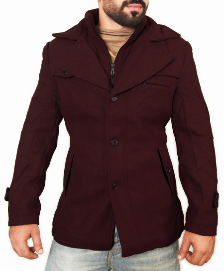 Maroon Wool Winter Coat for Men SPK-120