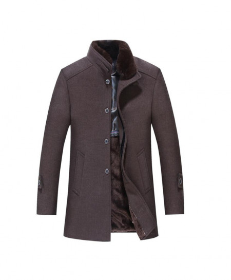 Brown Windbreaker Woolen Jacket SPK-126