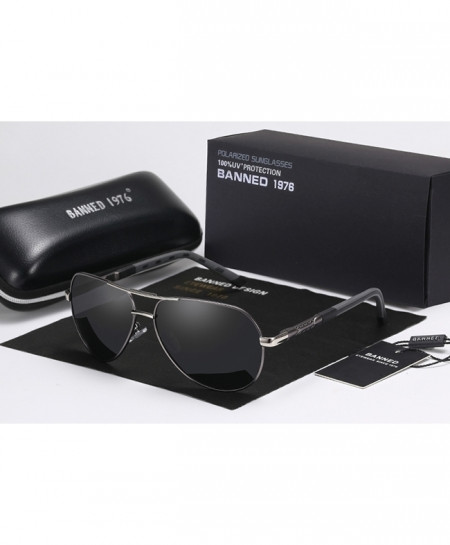 BANNED 1976 Gun Black Anti Glare HD Polarized Aluminum Sunglasses
