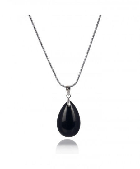 58c13e79656a6f Buy Black Obsidian Natural Water Drop Pendant Necklace online in ...