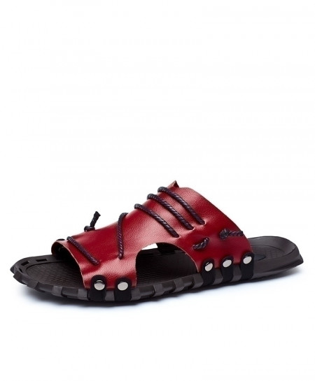Merkmak Red Genuine Leather Beach Flat Slipper