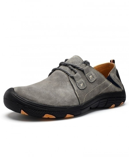 MVVT Gray Comfort Genuine Leather Suede Breathable Casual Shoes