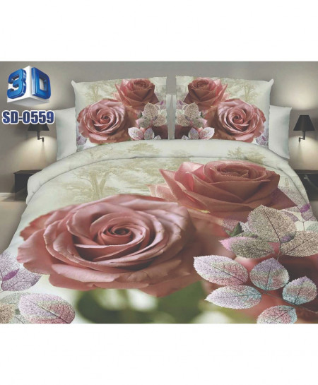 Pink Roses Design Cotton Satin 3D Bedsheet SD-0059