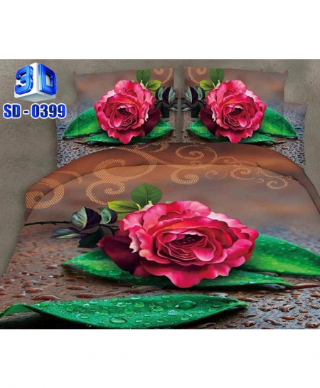 Green Leaves Roses Cotton Satin 3D Bedsheet SD-0399