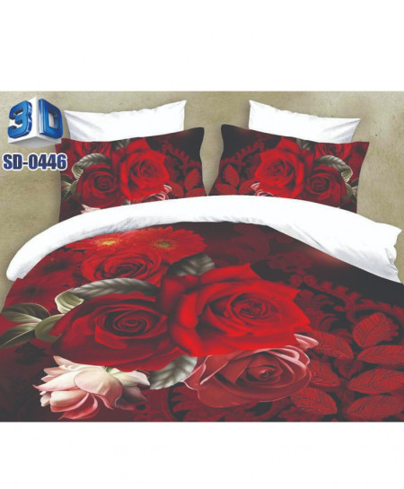 Red Roses Cotton Satin 3D Bedsheet SD-0446