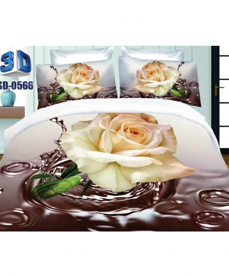 White Rose Satin Cotton 3D Bedsheet SD-0566