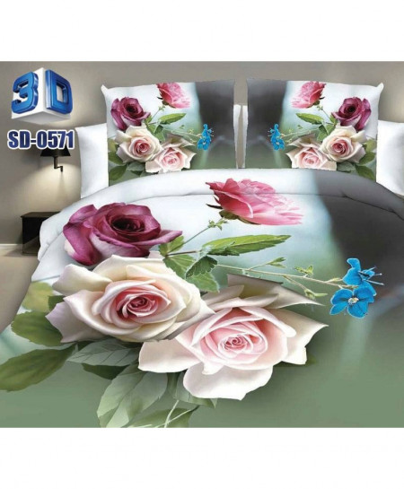 White Pink Rose Satin Cotton 3D Bedsheet SD-0571
