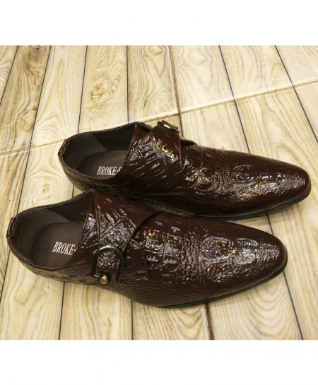 Choco Brown Textured Buckle Style Formal Shoes LW-7089
