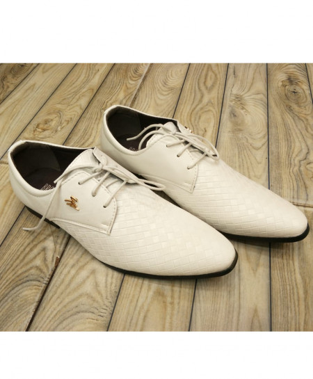 White Grid Style Formal Shoes LW-7095