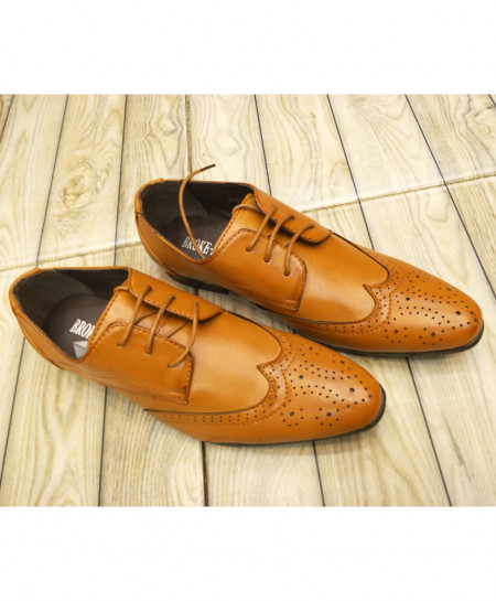 Brown Breathable Formal Shoes LW-7098