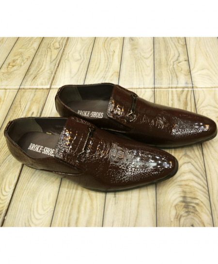 Choco Brown Textured Design Formal Shoes LW-7108