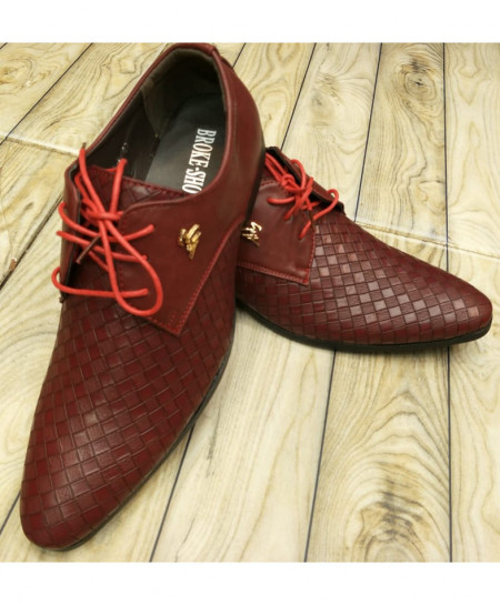 Maroon Grid Style Formal Shoes LW-7110